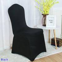 ingrosso sedia di banchetto nera spandex-copertura della sedia dello spandex colore nero fronte piana lycra stretch copertura della sedia del banchetto per la decorazione di nozze all'ingrosso in vendita
