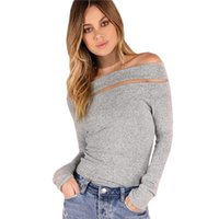Wholesale Off Shoulder Shirts For Women - Tshirts Heather Grey Brushed Off the Shoulder Tops for Women Autumn Long Sleeve Women T shirt Hollow Out Sexy Elegant Tee