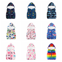 Wholesale hoodies vest clothes online - Ins kids Jackets Waistcoat Hoodies Thick Cartoon Animal Flower Dinosaur Printed Outerwear Coat Designs Vest Warm Clothing GGA1168