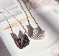 ingrosso collana di cigno set-Collana a cigno Collana con clavicola Pendente in cristallo Moda coreana Nuovo oro rosa Articolo