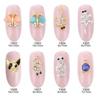 Wholesale butterfly french - 50pcs 3d French Bulldog opal nail art gems butterfly animal design jewelry nails snake decorations new arrive charm wholesalers Y802~809