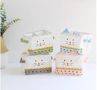 make-up-speicher organizer groihandel-Neue Cartoon Katze Make-up Kosmetische Desktop Aufbewahrungsbox Kinder Spielzeug Organizer Faltbare Container Wasserdichte Blumen Ablagekorb
