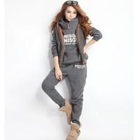 Wholesale Ladies Xxl Clothing - Wholesale- xxl Women Tracksuits Sport Suits Jacket Sweatshirt and Pants 3 Pcs Set Women Pants Suits cappa Jogging Suits Ladies Clothing
