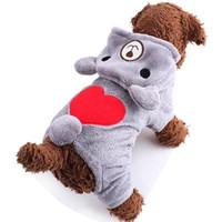 ayı köpeği kostümleri toptan satış-Küçük Köpekler Için sevimli Pet Köpek Giysileri Sıcak Polar Ayı Giysi Pet Kostüm Kış Köpek Giyim Kapüşonlu Ceket Köpek Için