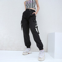 pantalones sueltos de mujer estilo coreano al por mayor-Streetwear Cargo Pants Mujer Casual Joggers Negro de cintura alta Pantalones sueltos para mujer Estilo coreano Pantalones para mujer