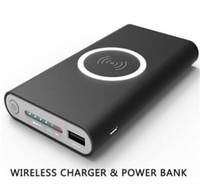 base de banco de poder al por mayor-Cargador inalámbrico Banco de energía 8000 mAh Batería de emergencia portátil Cargador rápido Placa base para iphone x 8 7 6 s Samsung S6 S7 S8 Nota 8