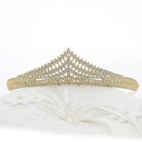 coroa de ouro venda por atacado-Designer De Ouro Tiara de noiva Coroas De Casamento De Noiva Acessórios Para o Cabelo Zircão Cristais Tiaras Pageant Coroas corona nupcial