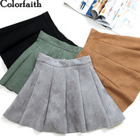 Wholesale girl skaters - New 2018 Autumn Winter Women Mini Pleated Skirt Suede Solid Multi Colors High Waist School Girls Femininas Skater Skirt SK3681