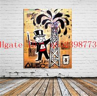 Wholesale modern abstract art oil painting - Alec Monopoly Cartoon Home Decor HD Printed Modern Art Painting on Canvas Unframed Framed
