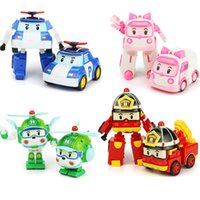 Wholesale transformer toy wholesale - ABS Deformation Car Robocar Bubble Toys 4 Models South Korea Poli robot transformer Car Helly Amber Roy ABS AA+ With pack