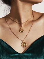 Wholesale bone style chain resale online - European Style Fashion Women Fine Wafer Star White K Gold Collar Bone Double Layer Necklace