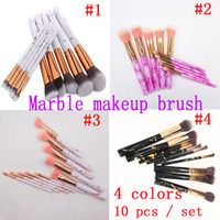 Wholesale highlight hair - 10 set Marble Makeup Brushes Blush Powder Eyebrow Eyeliner Highlight Concealer Contour Foundation Make Up Brush Set