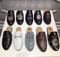 braunes leder freizeitschuhe männer großhandel-Herren Luxus Leder Loafers Muller Designer Slipper Herren Schuhe mit Schnalle Mode Herren Princetown Hausschuhe braun Casual Mules Wohnungen 38-46