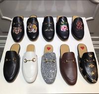 sapatos casuais de couro marrom homens venda por atacado-Homens mocassins De Couro De luxo Muller Designer de chinelos Sapatos masculinos com fivela Moda Masculina Princetown chinelos marrons Casuais Mules Flats 38-46