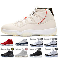 Wholesale white black night gowns online - 11 s XI Platinum Tint Men Basketball Shoes Cap and Gown Prom Night Gym Red Bred Barons Concord Cool Grey mens sports sneakers designer