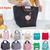 Wholesale picnic basket food - Flamingo Bear Fish Insulated Lunch Bags Drawing Picnic Lunch Pouch Bags Box Baskets For Student Adult Home Organization 15 Styles HH7-425