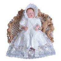 a6893b2ddc493 3pcs nouveau-né bébé fille ensemble robe chapeau et châle blanc robe de baptême  dentelle brodé premier 1er 2e 3e anniversaire cadeaux de baptême