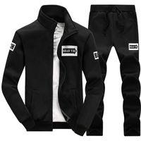 Wholesale tracksuits hoodies sweatshirt moleton suit for sale – custom Mens Set PC Zipper Autumn Sportswear Casual Tracksuit Male Sweatshirt Jacket Pans Suit Hoodies Moleton Masculino Men Hot Sale