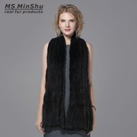 Apparel Accessories 2017 Ladys Genuine Knitting Mink Fur Shawls Hottest