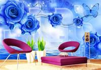 rosas de papel de parede para quarto venda por atacado-Moderno simples grande afresco sala de estar quarto não-tecido papel de parede 3d TV fundo papel de parede rosas azuis