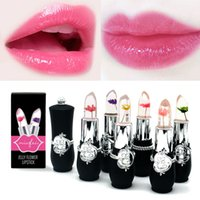 Wholesale flower jelly lipstick online - 6 Styles Flower Crystal Jelly Lipstick Magic Temperature Change Color Lip Balm Makeup Non stick Cup Long lasting Lipstick