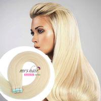 melhores extensões de cabelo remy fita venda por atacado-MRSHAIR 613 # Fita de Trama Do Cabelo Humano Extensões 20 pcs Luz Loira Extensões de Cabelo Colorido Pele Trama Fita Adesiva No Cabelo Best Sell 12