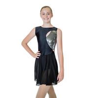 eislaufen kleider schwarz großhandel-Dancer's Choices Schwarz Eislaufen Modern Jazz Dance Shiny Nylon / Lycra Chiffon Ballett Trikot Kleid Damen Mädchen