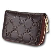 Wholesale credit card embossing for sale - Group buy Women Grain Embossing Organ Zipper Card Holder Short Wallet Purse Coin Bags Genuine Leather Color W087