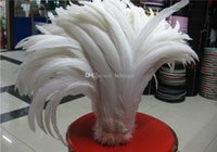 Wholesale feather quilts resale online - cm inch pure white Rooster tail feather For Costume Mask Coque Rooster Tail Feathers Wediing Party