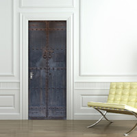 Wholesale chinese 3d posters - Chinese Style Old Wooden Door with Paint Wall Stickers Home Decor Waterproof Renovate Door Decals 3D Stereo Simulation Self-adhesive Poster