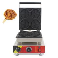 вафельные утюги оптовых-Электрические 4шт Мини-коммерческие бельгийские Lolly Waffle Makers 110v 220v Вафли на стиральных машинах Baker Iron Grill