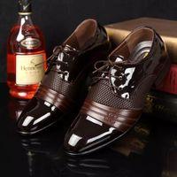 Wholesale Charming Black Men Dress Shoes - 2018 HOT Big US size 6.5-13 man dress shoe Flat Shoes Luxury Men's Business Oxfords Casual Shoe Black   Brown Leather Derby Shoes
