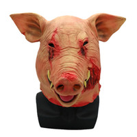 ingrosso costume di maiale-Nuovo arrivo Non tossico Halloween Smoke Pig Cosplay Creepy Animal Prop Latex Partito Unisex Scary Pig Testa Maschera Animal Joker Costume