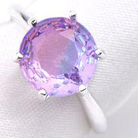 ingrosso bi anelli-10pcs / lot Wedding Ring Jewelry Regalo rotonda BI COLOURED Tourmalin Cubic Zirconia Gemstone 925 Anello in argento sterling