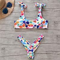 renkli tanga toptan satış-2019 Yeni Şeker Renkli Bikini Nokta Mayo Kadınlar Seksi Plaj Giyim Tanga Bikini Set Yüzmek kadın Mayo Brezilyalı Mayo