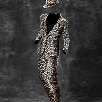 men s leopard jacket 2018 - New Fashion Mens Slim Fit One Button Blazers For Man Top Quality Brand Nightclub Leopard Jacket Suits Pants Show Coats