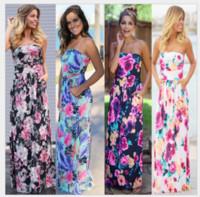 Wholesale vacation dresses - 2018 new women Casual skirt print dress summer vacation long dress casual Flower sexy long dress women ladies