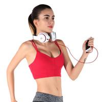 blouson sport blanc achat en gros de-Nouveau Mode Fitness Sports Bra Nylon Yoga Vest Gym S-XL 4 Violet Blanc Rayures Antichoc Réglable Sangle Soutien-Gorge Pour Femmes