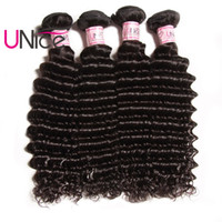 Wholesale Cheap Natural Hair Products - UNice Hair Indian Deep Wave 4 Bundles Remy Brazilian Hair Extensions Unprocessed 100% Human Hair Products Wholesale Cheap Deep Weave Bundles