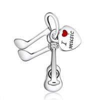 Wholesale violin jewelry resale online - New I Love Music Pendants Beads DIY Brand Bracelets Original Sterling Silver Red Enamel Love Heart Violin Jewelry Making
