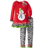 trajes de tutu de cebra al por mayor-Red Baby Girls Conjuntos de ropa de Navidad Muñeco de nieve Vestido de niña Pantalones de cebra Traje de ropa Niños Vestidos Pantalones Niños Trajes Blusa
