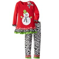 tenues zebra tutu achat en gros de-Rouge Bébé Filles De Noël Vêtements Ensembles Bonhomme De Neige Fille Robe Zèbre Pantalon Vêtements Costume Enfants Robes Pantalon Enfants Tenues Blouse