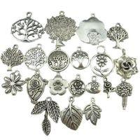 Wholesale vintage silver christmas tree - Mix Vintage Silver Tone Tree Plant Tree of Life Pendant Dangle Charm Jewelry Wholesale