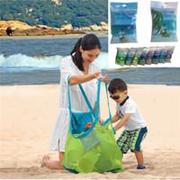 Wholesale sand tote - 8 colors Mesh Tote Bags Sand Away Beach Bag for Children Kids Toys Starfish Shell Collect and Storage B1108