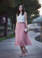 elfenbein spitze spitzen großhandel-Zweiteilige Abschlussballkleider Lace Top Tüllrock Dusty Pink Ivory Tee Länge Partykleider Abendkleider