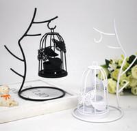 iron metal candle holders venda por atacado-Galhos De Gaiola De Pássaro Titular Castiçal De Ferro Ornamentos Branco Preto Castiçais Decoração de Casa Romântico Jantar De Casamento Decoração