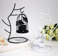 decoraciones románticas para el hogar al por mayor-Ramas Jaula de pájaros Titular de la vela Candelabro De Hierro Adornos Blanco Negro Candelabros Decoración Del Hogar Romántica Cena de la boda Decoración