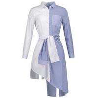 Wholesale strip blouse - Sishot women blouse 2018 spring summer carnival blue strip fashion patchwork lace up new lapel pocket casual women maxi shirts