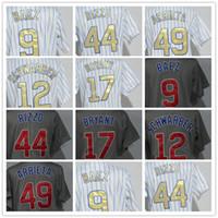 da4248d26a8 2018 Women Cubs 12 Kyle Schwarber 17 Kris Bryant 44 Anthony Rizzo 49 Jake  Arrieta 9 Javier Baez White Strips Grey Cool Base Baseball Jerseys