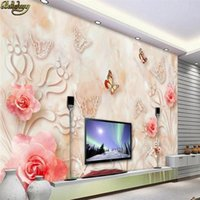 Wholesale Marble Wall Paper - beibehang Custom photo wallpaper mural European marble relief rose 3D stereoscopic TV background wall papel de parede wall paper